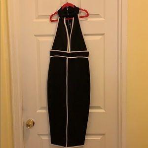 Black and White Neoprene Bodycon Dress